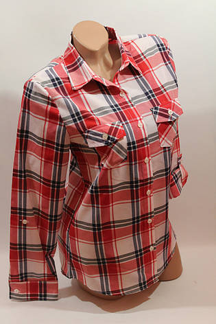 Женские рубашки в клетку оптом VSA белый-красный-полоска, фото 2