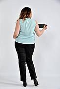 Женская шифоновая блуза 0502 цвет ментол размер 42-74, фото 2