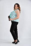 Женская шифоновая блуза 0502 цвет ментол размер 42-74, фото 4