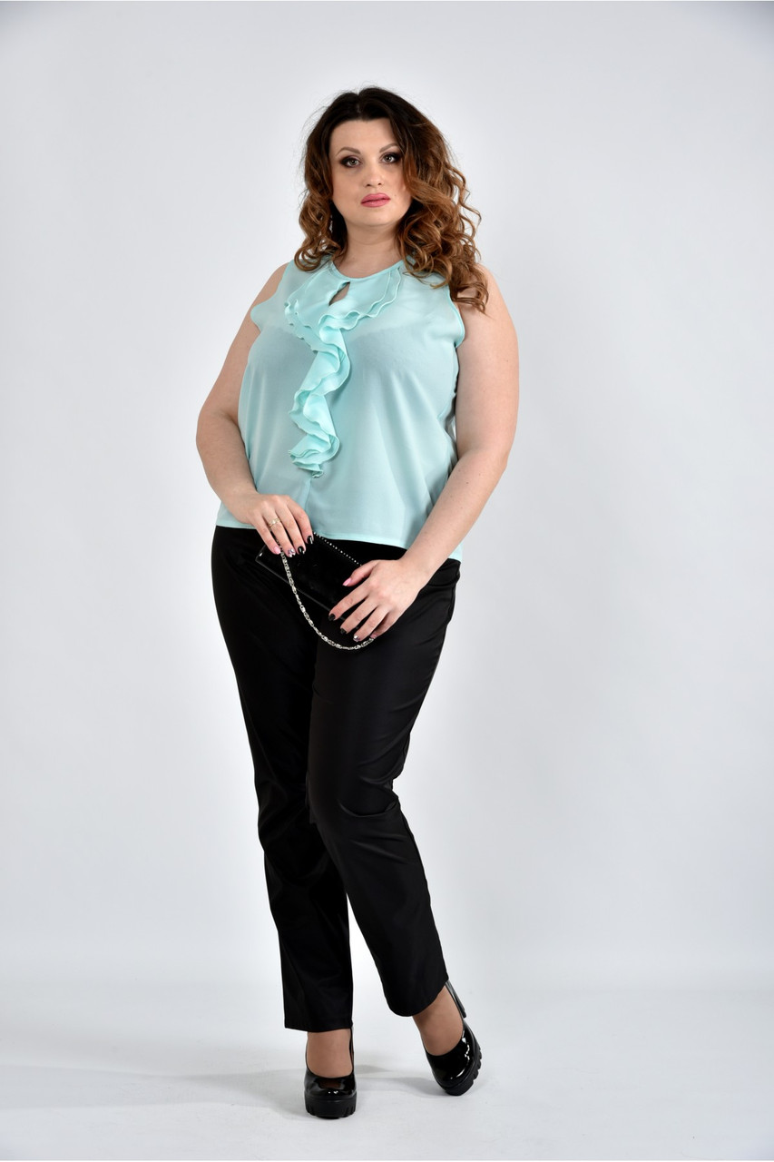 Женская шифоновая блуза 0502 цвет ментол размер 42-74