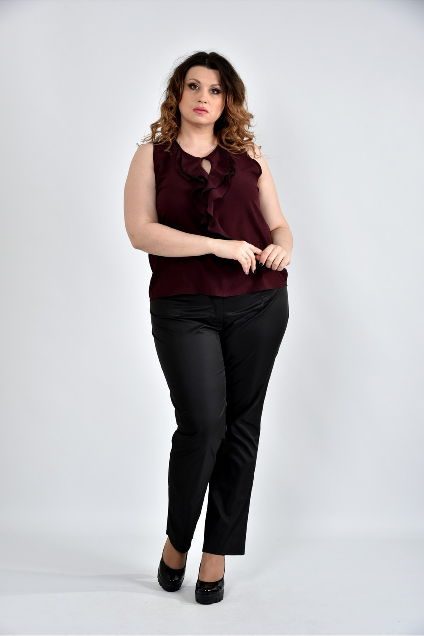 Женская шифоновая блуза 0502 цвет марсал размер 42-74