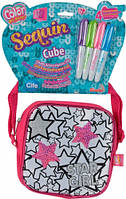 Мини сумочка квадратная с звездами из паеток 4 маркера 14×14 см Color Me Mine (637 9139)