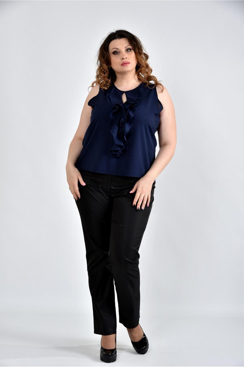 Женская шифоновая блуза 0502 цвет синий размер 42-74