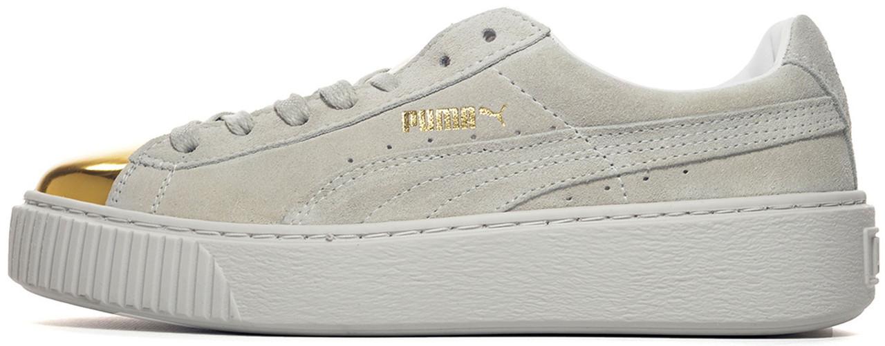 Женские кроссовки Puma Suede Platform Gold Toe Pack Grey, Пума Сьюд