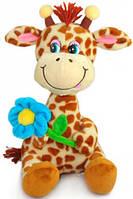 Мягкая игрушка Жираф с голубым цветком музыкальная 22 см LAVA (LA8614-2)