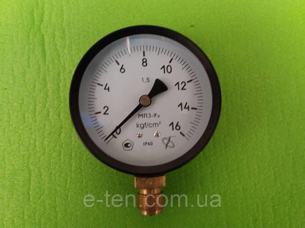 Манометр МПЗ-У от  0 - 1,6 МПа (16 атмосфер),Ø 100 мм