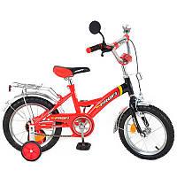 Велосипед PROFI дитячий 12'' P 1236 червоно-чорний, дзвінок, дзеркало, допоміжні колеса