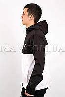 Анорак спортивный мужской черно-белый Ястреб