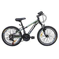 """Велосипед 20 д. G20A315-L-1B алюм. рама 12 """", Shimano 21SP, алюм. VB, подвійний обід, чорно-салатови"""