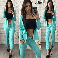 Стильный женский костюм тройка (трикотаж джерси, пиджак + топ + брюки) РАЗНЫЕ ЦВЕТА!
