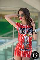 """М/44-46 Платье """"Moschino"""" с кроликом в красную полоску ЛЕТО, фото 1"""