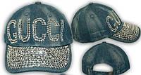 Джинсовая летняя кепка со стразами Gucci