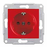 Розетка с заземлением и защитными шторками, красный, Sсhneider Electric Sedna Шнайдер Седна