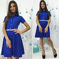 Платье (738) в горошек ярко-синий