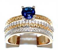 Кольцо фирмы Xuping.Цвет: позолота+родий. Камни:белый  и синий циркон. Ширина: 1,5 см. Есть только 19 р.