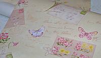 Обои на стену, детские, светлые, бабочки, цветы,  влагостойкие, B56,4 Письмо 8060 - 01, 0.53*10м