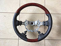 Руль Toyota Camry V50 2011-2015 ( черная кожа + красное дерево) OE-type