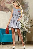 Летнее платье из хлопка, без рукавов, в полоску, размеры 42-48