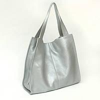 Шкіряна сумка модель 12 сріблястий флотар, фото 1