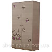 Детский шкаф гравированный Котёнок розовый BABY BOO