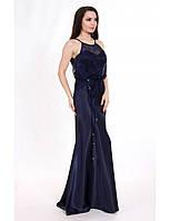 Атласное вечернее платье с гипюром мод.G0613 (р.40-44)