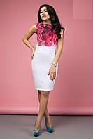 Нежное Облегающее Платье Белое с Малиновыми Цветами XS-XL