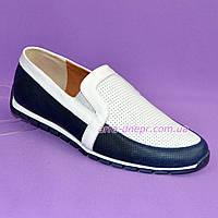 Мужские кожаные туфли-мокасины, цвет сине-белые.