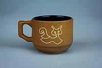 Чашка кофейная коричневая с улиткой