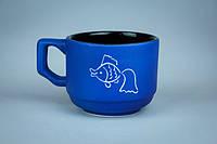 Чашка кофейная синяя с рыбкой