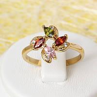 002-2439 - Позолоченное кольцо с цветными и прозрачными фианитами, 19 р.