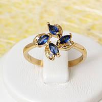 002-2440 - Позолоченное кольцо с сапфирово-синими и прозрачными фианитами, 16.5, 17.5, 18, 19 р.