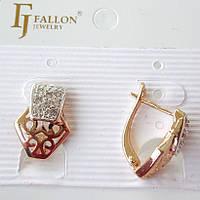 Серьги позолота и родий FJ FALLON  с английским замком