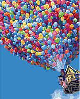 """G 396 """"Полет на воздушных шарах""""  Роспись по номерам на холсте 40х50см без коробки, в пакете"""
