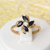 R1-2441 - Позолоченное кольцо с чёрными и прозрачными фианитами, 17, 18 р.