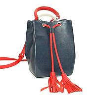 Кожаная сумка модель 25 синий с красным флотар, фото 1