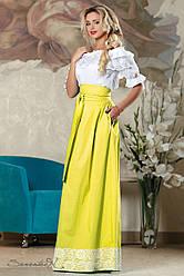 Яркая летняя юбка в пол из стрейч-коттона, размеры 42-48