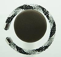 1129 Женские браслеты жгуты из стекляруса (черно-белый)