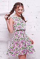 Летнее яркое платье Стейси р. 40-46 цветочный принт