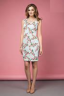Красивое Облегающее Платье Миди Голубое с Цветами XS-XL