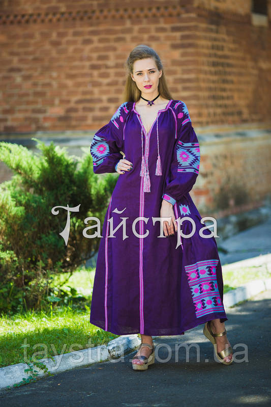 Стильное платье женское бохо вышиванка лен d2e02fa33c2e5