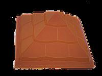 """Крышка для забора LAND BRICK """"пирамида"""" красная 450х450 мм"""