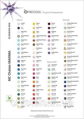 Карта цветов бижутерных камней Preciosa