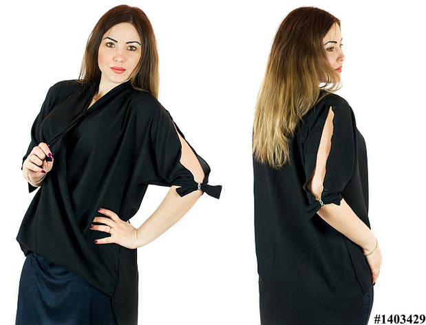 Черная блуза 1403429, большого размера, фото 2