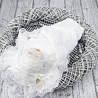 """Изысканное крестильное полотенце """"Любовь"""" белое"""