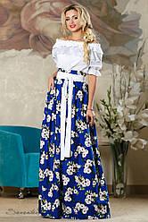 Яркая летняя юбка в пол с цветочным принтом, лён , размеры 42-46