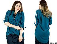 Зеленая блуза 1403429, большого размера