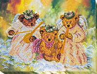Набор для вышивки бисером на холсте «Мишки-ангелочки»