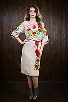 Шикарное вышитое платье из льна для женщин 4500
