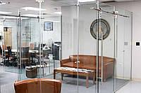 Стеклянная дверь одностворчатая раздвижная открытого типа из прозрачного закаленного стекла