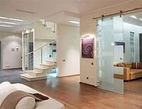 Стеклянная дверь одностворчатая раздвижная открытого типа из закаленного стекла с матовым рисунком